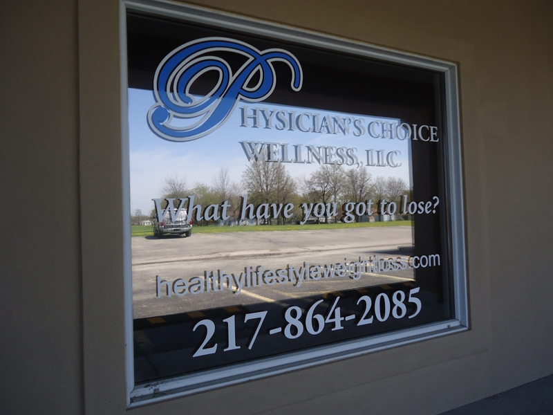 Cut vinyl window graphics for Physician's Choice Wellness Center
