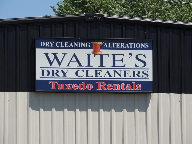 Waites Dry Cleaners exterior building sign